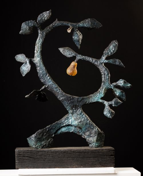 A Silver Nutmeg and a Golden Pear sculpture by Jenny Rickards